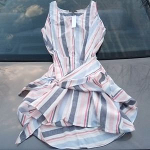 DREW Linen/Rayon Candy Cane Dress S $234 NWT
